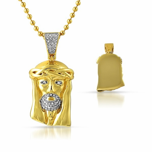 Gold Micro Jesus Chain Polished with Solid Back