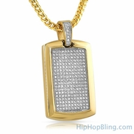 Gold Micro Pave Bling Dog Tag Pendant Stainless Steel
