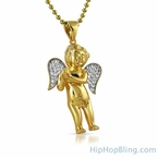 Gold Mini Angel Pendant CZ Iced Out Wings