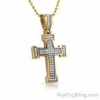 Gold Mini Block CZ Iced Out Stainless Steel Cross
