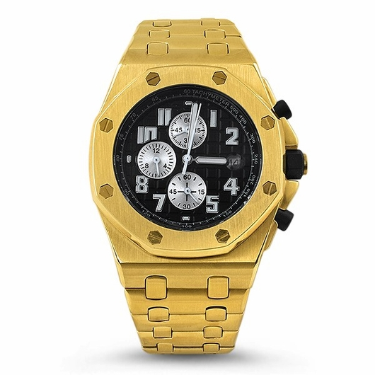 Gold Octagon Brushed Stainless Steel Watch