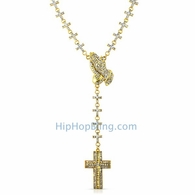 Gold Praying Hands Fully Iced Out Cross Link Rosary Necklace