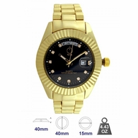 Gold Pres Black Dial Day Date Function