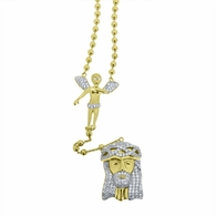 Gold Rosary Cherub Angel and Jesus Piece .925 Silver