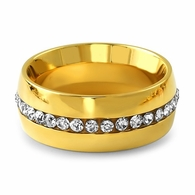 Gold Single Row Iced Out Stainless Steel Ring
