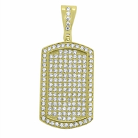 Gold Small CZ Dogtag .925 Sterling Silver