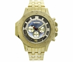 Gold Sports .25 Carat Diamond Hip Hop Watch Blue Pearl Dial