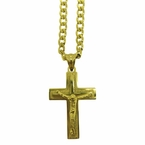 Gold Stainless Steel Crucifix Block Chain Set
