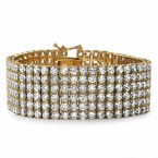 Gold Stainless Steel CZ 6 Row Iced Out Bracelet