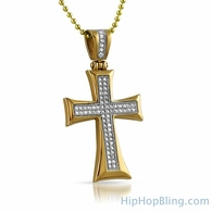 Gold Stainless Steel Kite Bling Bling CZ Cross
