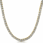 Gold Steel 1 Row 4MM Lab Made CZ Chain