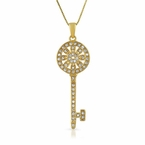 Gold Sunflower Key CZ Sterling Silver Pendant
