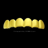 Gold Tone Grills Iced Out Teeth HipHop Grillz