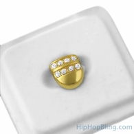 Gold Tooth 2 Row Ice Grillz