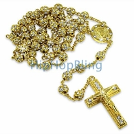 Gold Totally Bling Bling Rosary Necklace