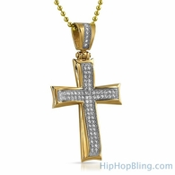 Gold Wavy CZ Bling Bling Stainless Steel Cross
