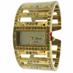 Gold Wide Ladies bangle Watch Bling Bling