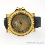 Gold World Map Floating Super Techno Watch Real Diamonds
