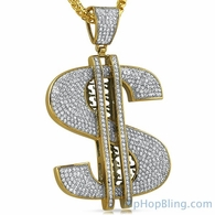 Gold XL Money Sign Stainless Steel Bling Pendant
