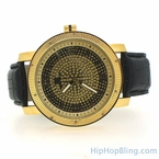 Golden Super Techno Genuine Diamond Hip Hop Watch