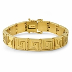 Greek Link Gold Stainless Steel Bracelet