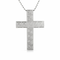 Greek Link Stainless Steel Cross