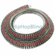 Green & Red 4 Row Iced Out Chain