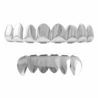 Grillz 8 Tooth Rhodium Teeth Set