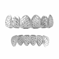 Grillz Diagonal Diamond Cut Rhodium Set