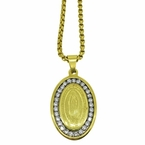 Guadalupe Bling Gold Stainless Steel Pendant Chain Set