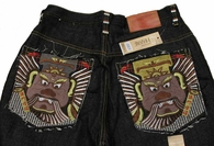 GUARDIAN Face Full Embroidered Black Denim Jeans NWT