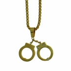Handcuffs Gold Steel Pendant and Chain Set