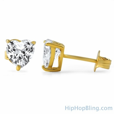 Heart Cut CZ Stud Earrings Gold .925 Silver