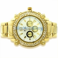 Heavy Chrono Dial Iced Out Gold Watch