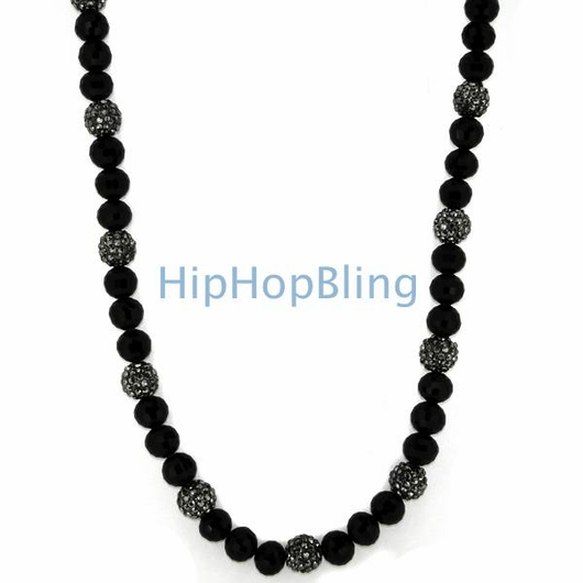 Hematite 15 Iced Out Disco Balls Hip Hop Necklace