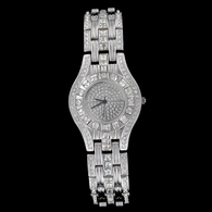 High Rollers Silver Tone Iced Out Hip Hop Mens Watch Bling
