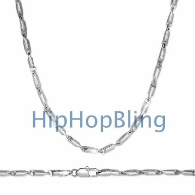 Hip Hop Bullet Link Chain Rhodium Plated Necklace 36 Inches