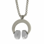 Hip Hop Headphones Stainless Steel Pendant + Chain