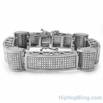 Ice Cylinders Stainless Steel Iced Out CZ Bracelet