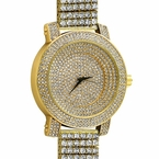 Ice Stadium Custom Gold Bling Bling Watch 6 Row Band