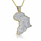 Iced Out Africa Gold Mini Pendant