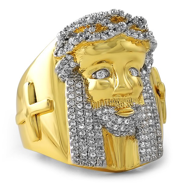 iced out gold jesus ring with cross gold cz iced out