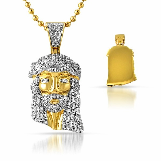 Iced Out Gold Micro Jesus Pendant Solid Back
