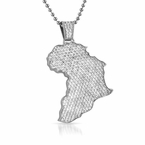 Iced Out Mini Africa Pendant Rhodium