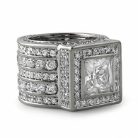 Iced Out Ring Bling Square President Style