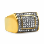 Iced Out Ring Gold Stainless Steel CZ Quality Bling