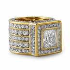 Iced Out Ring Square Gold President
