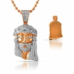 Iced Out Rose Gold Micro Jesus Pendant Solid