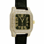 Iced Out Square Block Gold Bling Bling Leather Watch