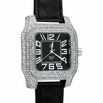 Iced Out Square Block Silver Hip Hop Bling Watch